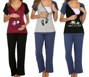 Schlafanzug Pyjama Schwangerschaft Stillzeit Stillen Umstandsmode Stillmode NEU