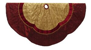 Kurt Adler Red and Gold Criss Cross Scalloped Edge Holiday Tree Skirt 72 Inches