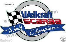 Wellcraft Scarab World Champion Boat Grey Sticker Decal 14.5""