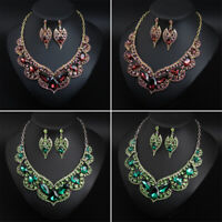 New Crystal Pendant Bib Choker Chain Necklace Earrings Jewelry Set Bridal Party