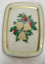 Vintage Atomic Gold Star Christmas Bells Holly Metal Serving Cookie Tray Retro