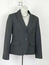 Anne Klein Womens  Size  4 Gray Striped Blazer Two Buttons Wool Blend