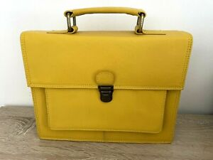 Genuine Leather Satchel Cross Body Handbag Detachable Strap - Yellow