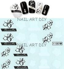 Tattoo adesivi per unghie-water transfer stickers-20 fiori bianchi e neri !!!
