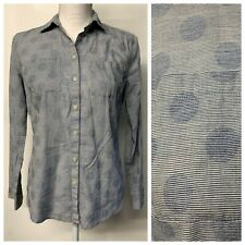 LOFT Blue White Striped Polka Dot The Softened Shirt Button Front Career Small