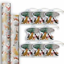 Christmas Gift Wrap Paper Roll & Gift Tag Assortment (2 Jumbo Rolls & 8 Tags)