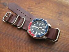 Dark Brown Leather 'Nato-Zulu'-Style Watch Strap Band 22mm