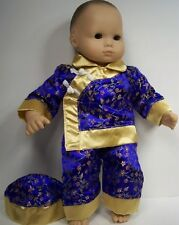 BLUE w/GOLD China Asian Costume Doll Clothes For Bitty Baby & Twins (Debs)