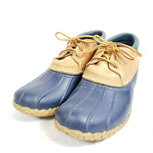 LL Bean Bean Boots Low Duck Rain Boots Women's Size 9 Blue/Brown