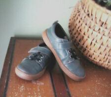 Sz 13 Livie & Luca: Grey Green Leather Sneaker; Hook & Loop Strap; Rubber Sole
