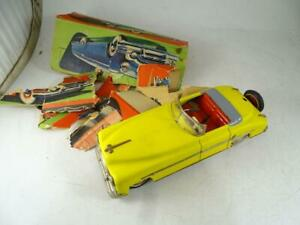 """Vintage US Zone Germany Key Wind-Up Tin Coupe Car Steering 10.25"""" Long Schuco"""