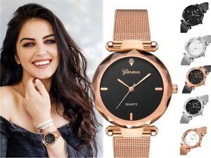 GENEVA Women Ladies Watch Rose Gold Stainless Steel Mesh Band Wrist Watches UK