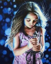 "MHew Original "" Light "" Young Girl with Sword Realism Colored Pencil 16"" x 20"""