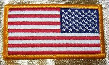 NEW~REVERSE AMERICAN FLAG EMBROIDERED PATCH, GOLD BORDER USA IRON ON~NEW