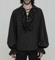 Gothic Steampunk Retro Men's Lace Cotton Ruffle Top Blouse Shirt Victorian Haihk