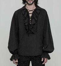 Gothic Steampunk Vintage Men Lace Cotton Ruffle Top Blouse Shirt Victorian SZ
