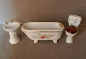 Dolls' house Furniture Ceramic Floral Bathroom Suite - sink, toilet, and bathtub