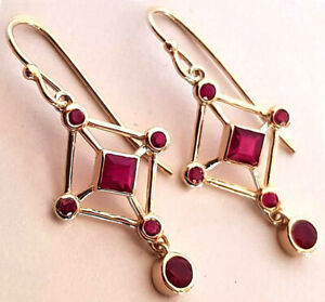 Genuine 9K,14K or 18K Solid Yellow,Rose or White Gold NATURAL Ruby Drop Earrings
