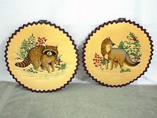 Vintage Laced Quilted Hand Stitched Round Wall Hangings Raccoon Fox Dog Cardinal