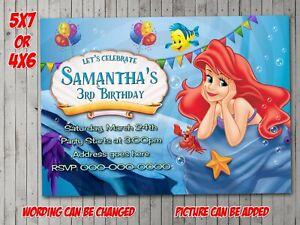 The Little Mermaid Invitation, Party, Birthday, Invite, evite 2, Princess