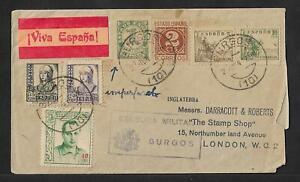 SPAIN CIVIL WAR TO UK CENSOR COVER BURGOS 1937