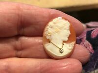 Art Deco Hand Carved Shell Cameo Habille with Genuine Gold Diamond Necklace
