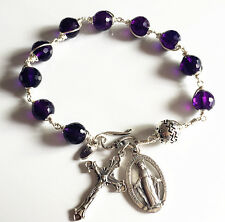 NATURAL 10MM AMETHYST & Bali Sterling Silver Beads cross  Rosary Bracelet