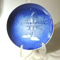B & G Copenhagen Wandteller Weihnachtsteller Wintermotiv Schwäne 1974