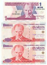 More details for 3x turkish banknotes 10,000,000 lirasi 1970(1999) x2; 1 new lirasi 2005 turkey