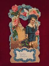 Vintage Antique Die Cut German Fold Out Valentine Card w/ Dutch Boy Flowers
