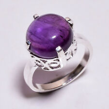 925 Sterling Silver Ring Size US 8.5, Natural Amethyst Gemstone Jewelry CR3770