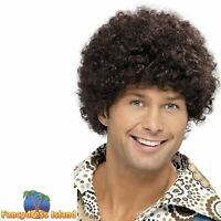 70's Disco Dude Afro Wig Boogie Nights Adult Mens Fancy Dress Costume Acessory