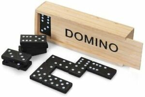28Pc Traditional Dominoes Set Wooden Box Toy Classic Game Kids Black/White Dots