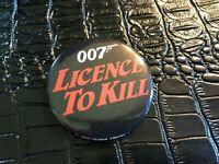 VINTAGE PROMO PINBACK BUTTON #130-032 movie JAMES BOND 007 LICENCE TO KILL