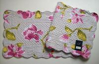 "C&F LILIANN Quilted Cotton Table Runner 14"" x 51"" Gray, Pink, Green, Yellow"
