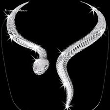 Bold SNAKE Black Crystal Cz Choker Statement Drop Necklace Animal Silver BLING