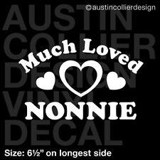 "6.5"" MUCH LOVED NONNIE vinyl decal car window laptop sticker - mom grandma gift"
