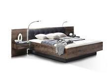 ERLIN Bettanlage Bett Doppelbett 180x200 Dekor Schwarzeiche inkl. Nachtkommoden