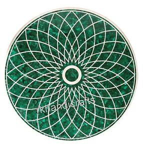 30 Inches Round Coffee Table Top Marble Dinette table with Malachite Stone Art