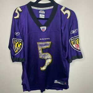 Reebok Football Jersey Men's M Purple Baltimore Ravens #5 Joe Flacco