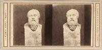 Italia Socrate Filosofo Greco Museo Da Napoli c1865 Foto Stereo Albumina