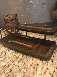 Vintage Desk/Dresser Letter Holder Caddy. Solid Wood With Brass Accents. MELE