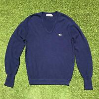 80s Vintage IZOD LACOSTE Mens V Neck Jumper XL | Sweater Blue