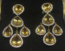 Citrine chandelier fine earrings ebay elegant 36 carat citrine diamond micro pave yellow gold chandelier earrings mozeypictures Gallery