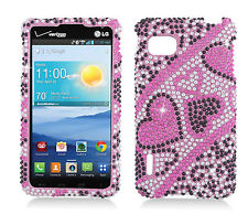 Sprint LG Optimus F3 LS720 Crystal Diamond BLING Hard Case Cover Black Red Heart