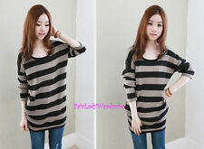 Japan MicroFiber Lining Striped Pocket Knit Tunic Sweater! coco