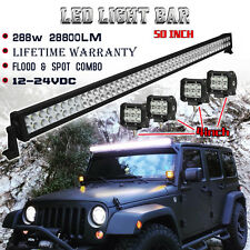 4x 4inch CREE Led Pods + 50in LED Work Light Bar Off road Jeep Truck Ford SUV 52