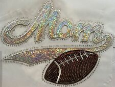 Iron On Transfer Applique Rhinestone and Sequin Silver Mom with Football
