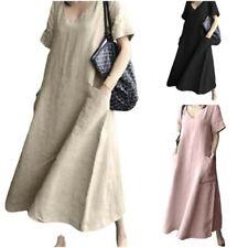 Vintage Women Short Sleeve V-Neck Shirt Dress Midi Loose Ethnic Sundress BB