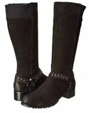 Adrienne Vittadini  8 M Trooper Black Distressed Suede Leather Studded  Boot New